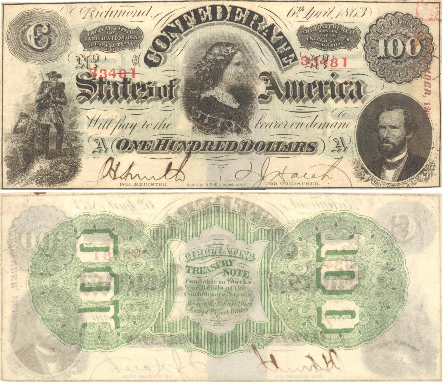 This Is Criswell Type 56 With The Catalog Number 402 9 Plate A 100 Note Was Issued On 6th April 1863 Red Stamped Serial 33481