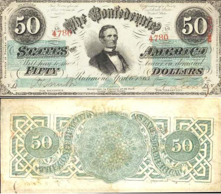 This Is Criswell Type 57 With The Catalog Number 414 1 1st Series Plate YA 50 Note Was Issued On 6th April 1863 A Red Stamped Serial 4780