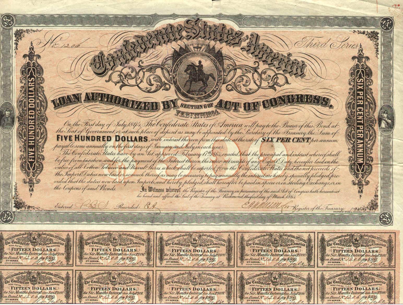 Confederate States Of America Bonds