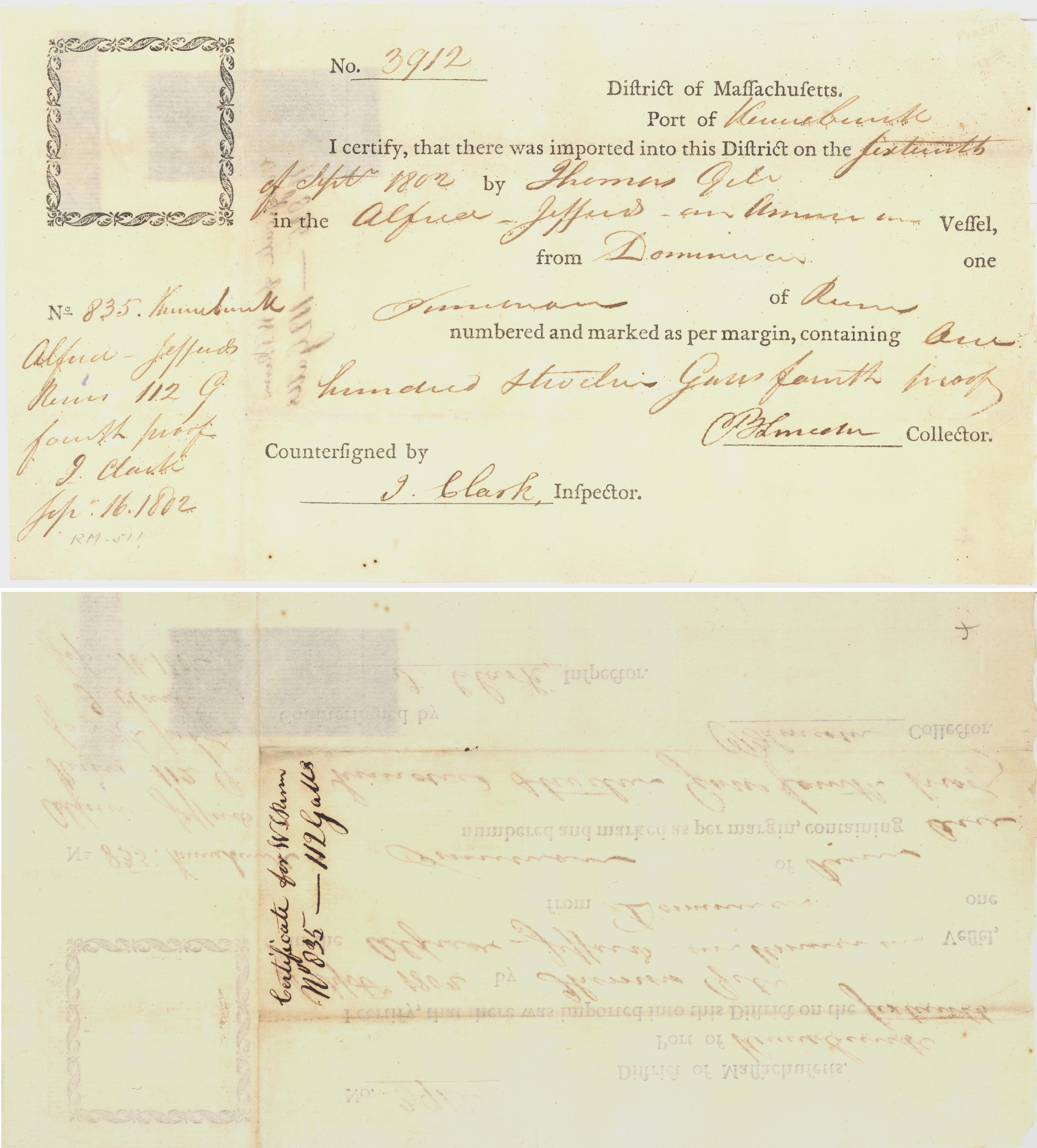 Antiques Stamped Document 1791